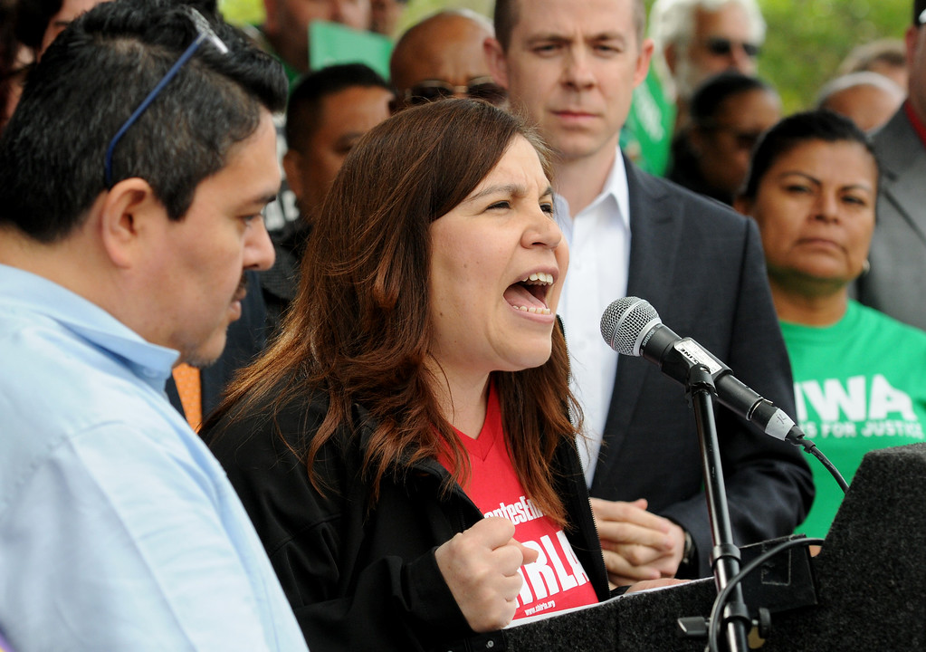 . Angelica Salas, CHIRLA, talks about May Day plans.  More than 100 gathered at MacArthur Park in Los Angeles  on Wednesday, March 22, 2017 to bring attention to the planned May Day march and rally.  The May Day Coalition of Los Angeles, a broad network of organizations from throughout the region, announced their plans to hold the event on May 1.  The march takes place annually on International Worker\'s Day.  (Photo by Dean Musgrove, Los Angeles Daily News/SCNG)
