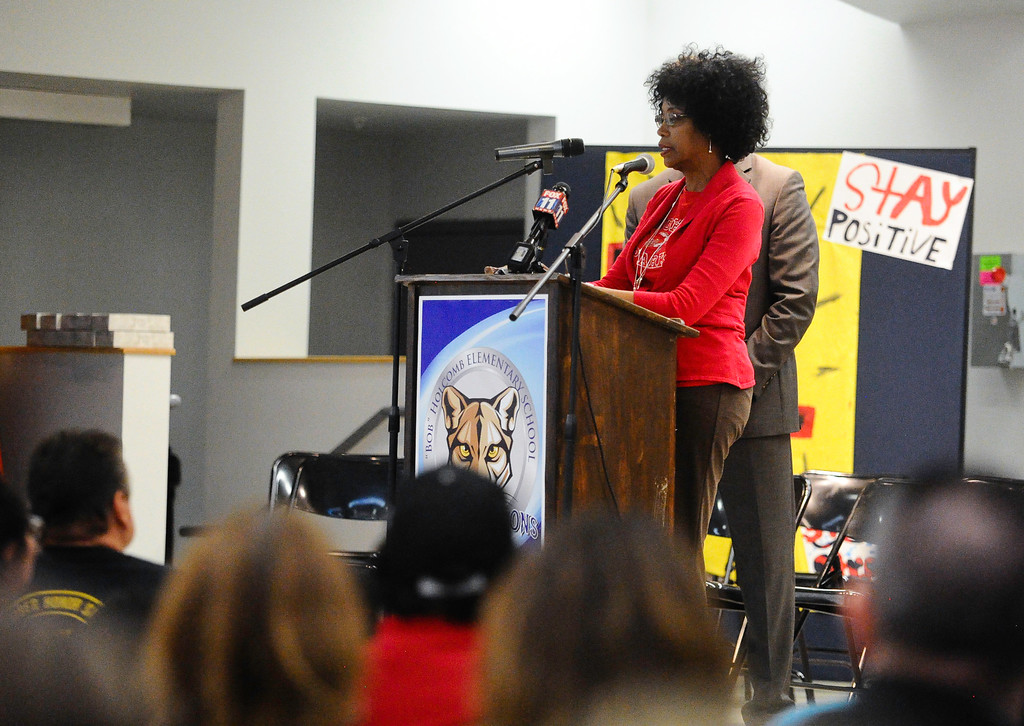 . North Park Elementary Principal Yadira Downing addresses parents and community members about the next steps for North Park Elementary during a meeting at Bob Holcomb Elementary School in San Bernardino, Calif. on Thursday, April 13, 2017. Cedric Anderson, 53, of Riverside, entered North Park Elementary School, killing his his estranged wife Karen Elaine Smith, 53, student Jonathan Martinez, 8, and critically injuring another student before turning the gun on himself on April 10 at the school in San Bernardino. (Photo by Rachel Luna, The Sun/SCNG)