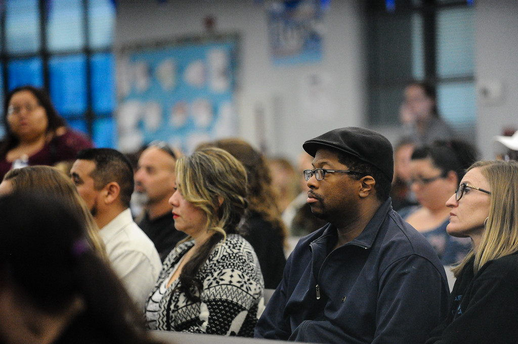. North Park Elementary parents and community members gather to learn about the next steps for North Park Elementary during a meeting at Bob Holcomb Elementary School in San Bernardino, Calif. on Thursday, April 13, 2017. Cedric Anderson, 53, of Riverside, entered North Park Elementary School, killing his his estranged wife Karen Elaine Smith, 53, student Jonathan Martinez, 8, and critically injuring another student before turning the gun on himself on April 10 at the school in San Bernardino. (Photo by Rachel Luna, The Sun/SCNG)
