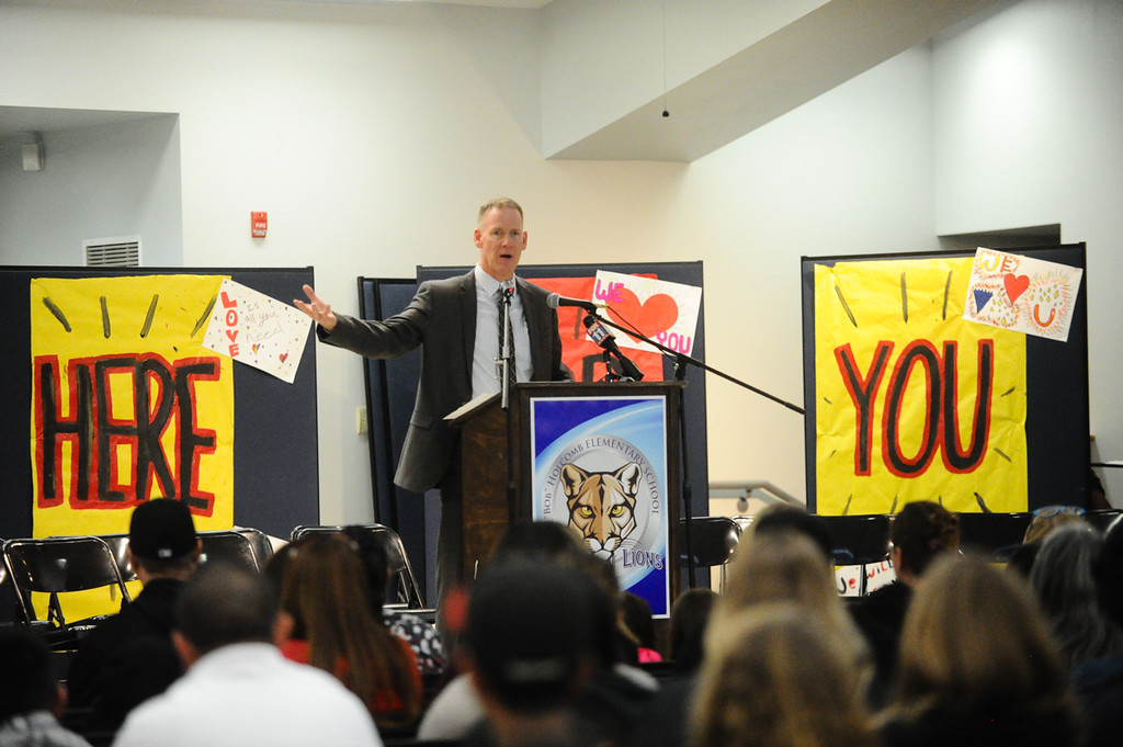 . San Bernardino City Unified School District Superintendent Dale Marsen addresses parents and community members about the next steps for North Park Elementary during a meeting at Bob Holcomb Elementary School in San Bernardino, Calif. on Thursday, April 13, 2017. Cedric Anderson, 53, of Riverside, entered North Park Elementary School, killing his his estranged wife Karen Elaine Smith, 53, student Jonathan Martinez, 8, and critically injuring another student before turning the gun on himself on April 10 at the school in San Bernardino. (Photo by Rachel Luna, The Sun/SCNG)