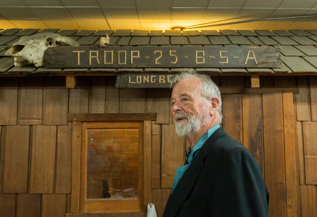 . Andy Hale, 75, the assistant scoutmaster for Boy Scout Troop 25, stands next to the �cabins� inside the troop\'s scout room in Long Beach Wednesday, April 12, 2017. Hale is looking for new home for the troop because the property is being redeveloped into a mixed-use development with a church,  condos, and stores.  (Photo by Thomas R. Cordova, Press-Telegram/SCNG)