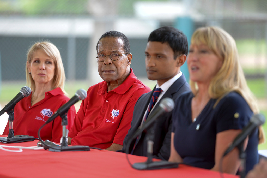 . Baseball hall of fame legend Rod Carew, listens as Mary Reuland talks about her son Konrad during a press conference for the American Heart Association.  Mary\'s son Konrad Reuland\'s heart was donated to Carew in December of 2016.  At far left is Rhonda Carew, next to Mary is Dr. Ajay Srivastava, Mr. Carew\'s doctor. ( Photo by David Crane, Los Angeles Daily News/SCNG)