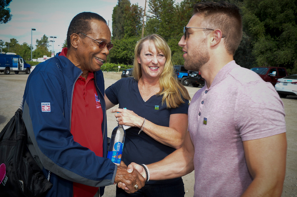 . Baseball hall of fame legend Rod Carew greets Mary Reuland and her son Austin as the trio meet for a press conference for the American Heart Association.  Mary\'s son Konrad Reuland\'s heart was donated to Carew in December of 2016.  ( Photo by David Crane, Los Angeles Daily News/SCNG)
