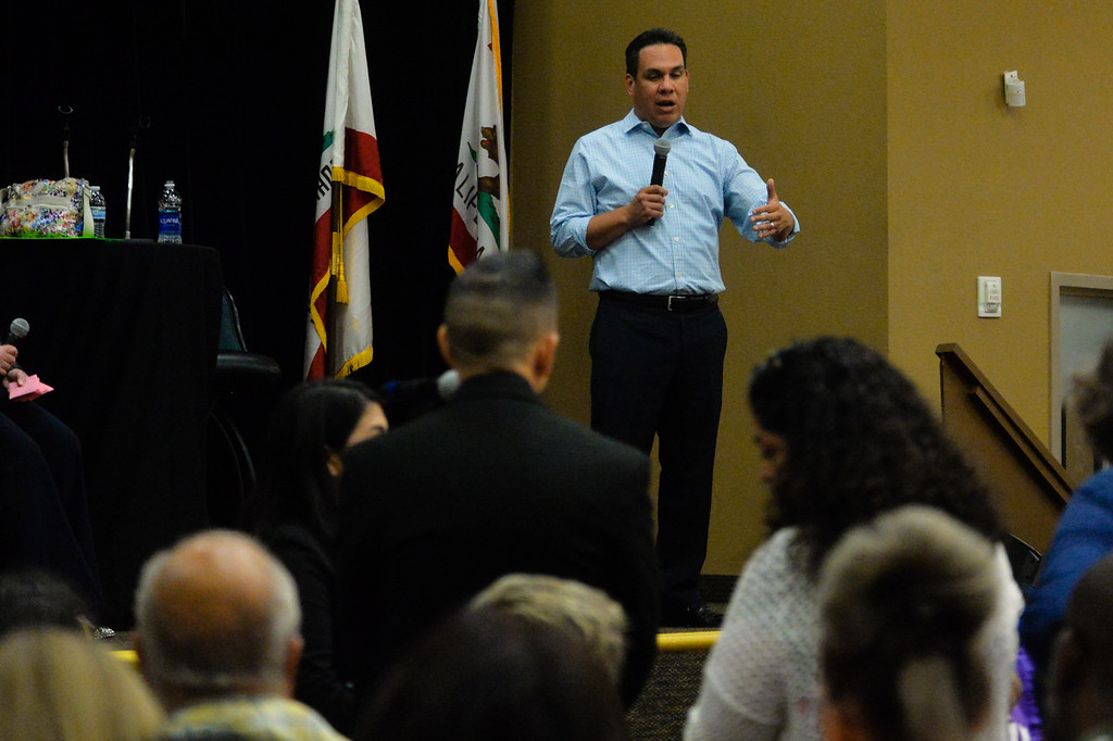 . Congressman Pete Aguilar, D-San Bernardino, holds a town hall meeting to speak with constituents at the National Orange Show Event Center in San Bernardino, Calif. on Tuesday, April 18, 2017. This was the congressman�s first public town hall since he held a telephone town hall in February. (Photo by Rachel Luna, The Sun/SCNG)