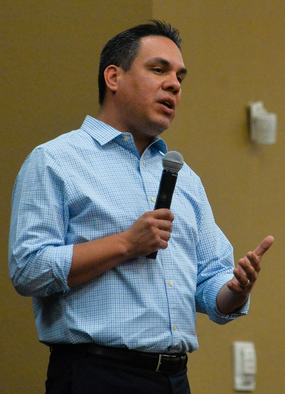 . Congressman Pete Aguilar, D-San Bernardino, answers questions during a town hall meeting with constituents at the National Orange Show Event Center in San Bernardino, Calif. on Tuesday, April 18, 2017. This was the congressman�s first public town hall since he held a telephone town hall in February. (Photo by Rachel Luna, The Sun/SCNG)