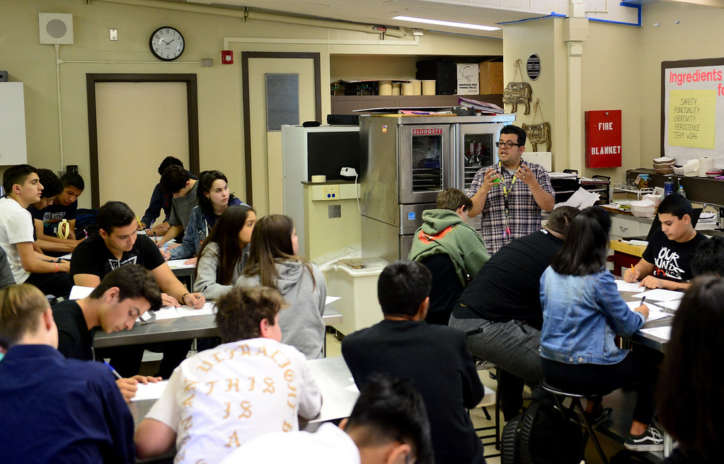 . Students in a culinary class at Sherman Oaks Center for Enriched Studies (SOCES) on Wednesday, April 19, 2017.  California middle and high schools earned state gold ribbon awards. The honor, which replaces the California Distinguished Schools program that is on hiatus, is given for model programs that include standards-based activities, projects, strategies and practices.