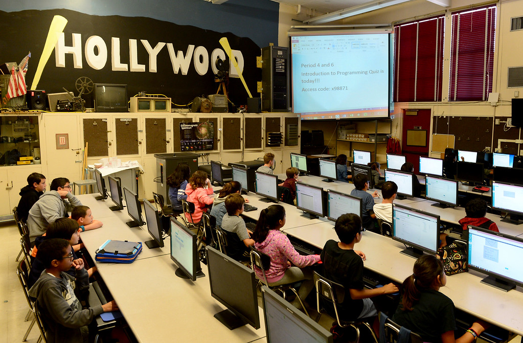 . Middle school students at Sherman Oaks Center for Enriched Studies (SOCES) study during a computer class on Wednesday, April 19, 2017.  California middle and high schools earned state gold ribbon awards. The honor, which replaces the California Distinguished Schools program that is on hiatus, is given for model programs that include standards-based activities, projects, strategies and practices.