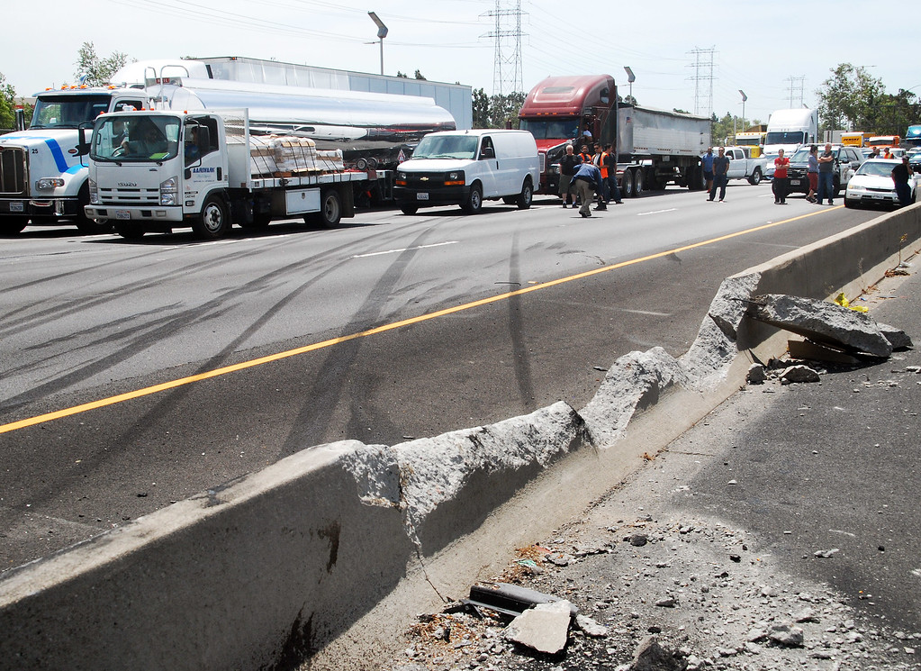 . Skid marks in the northbound 5 Freeway lanes pretty well tell the story of a crash Tuesday, April 25, 2017, that involved two big rigs and three other vehicles, killing one person and injuring nine others. (Photo by Mike Meadows/Special to the Los Angeles Daily News)