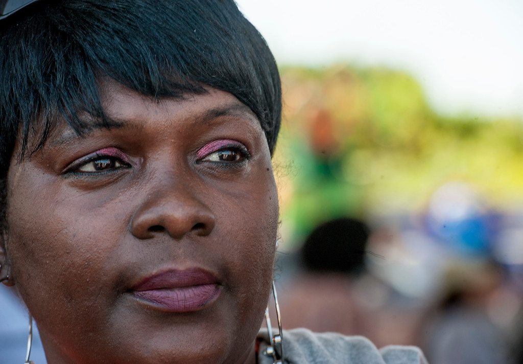 . Iretha Warmsley, of South Los Angeles, gazes outward at the corner of W Florence Ave., and Normandie Ave., before the start of the march along W Florence Ave., and S Vermont Ave., on the 25th anniversary of the 1992 Los Angeles Riots during a march / rally and Future Fest community festival in South Los Angeles on Saturday, April 29, 2017. She says she was there during the 1992 Los Angeles Riots. (Photo by Ed Crisostomo, Los Angeles Daily News/SCNG)