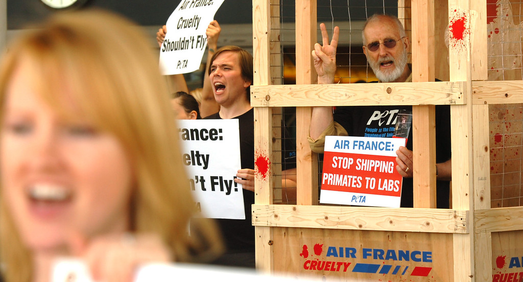 . More than 50 PETA members and actor James Cromwell protest Air France inside of the Tom Bradley International Terminal at Los Angeles International Airport in Los Angeles, CA. Monday April 28, 2014. According to PETA Air France is the only major airline in the world that still ships primates to laboratories. (Thomas R. Cordova/Press-Telegram/Daily Breeze)