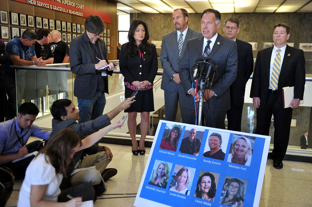 . Orang County District Attorney Tony Rackauckas speaks to the media at the Santa Ana Courthouse after Scott Evans Dekraai entered a guilty plea in largest Orange County mass murder. Dekraai killed 8 people two years ago in Seal Beach at Salon Meritage. Santa Ana May 2, 2014. (Photo by Brittany Murray / Daily Breeze)