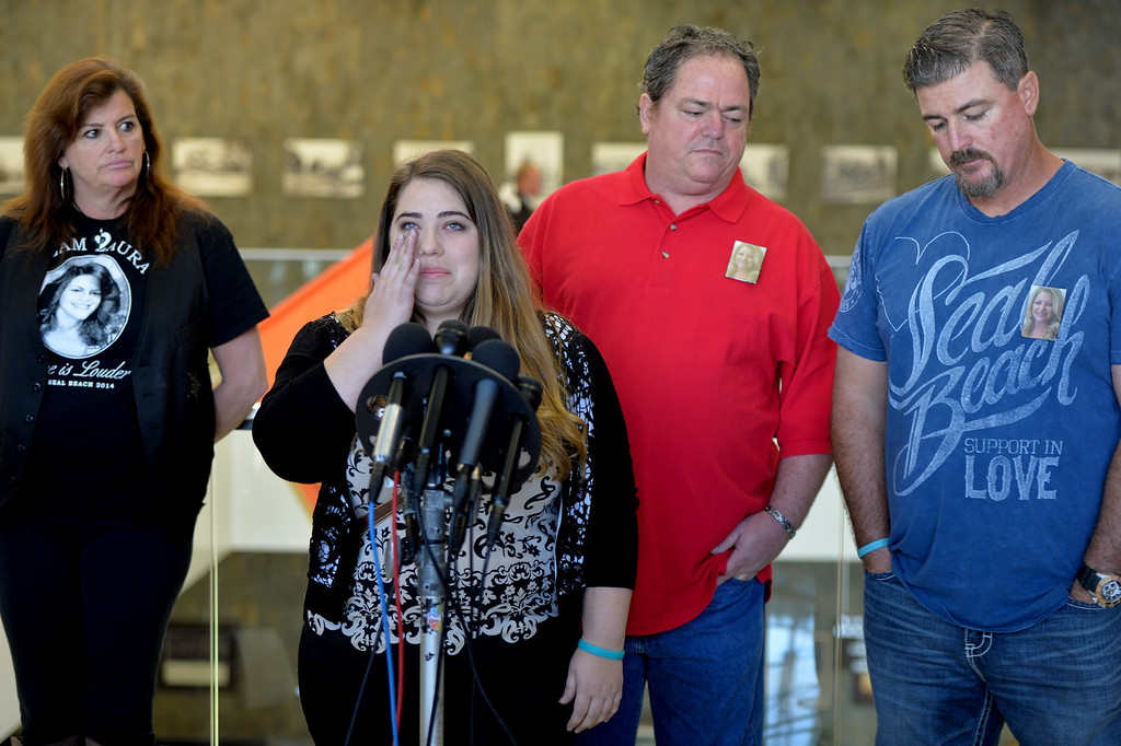 . Chelsea Huff daughter of slain victim Michelle Fournier,  speaks to the media at the Santa Ana Courthouse after Scott Evans Dekraai entered a guilty plea in largest Orange County mass murder. Dekraai killed 8 people two years ago in Seal Beach at Salon Meritage. Santa Ana May 2, 2014. (Photo by Brittany Murray / Daily Breeze)