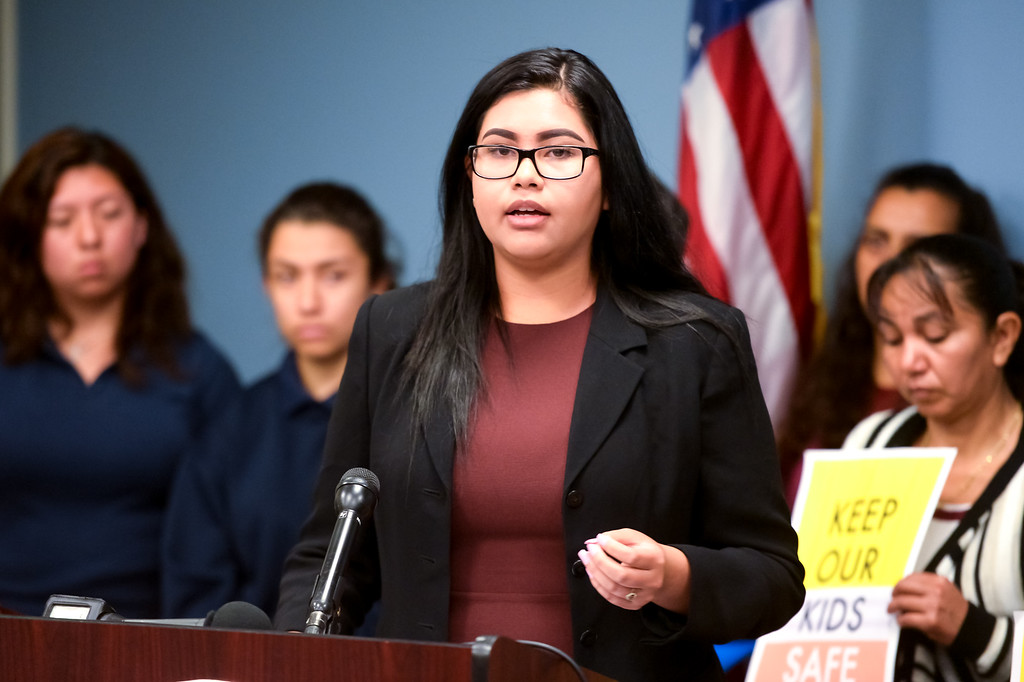 . Horlenes Flores, a student at Alliance environmental Science and Technology High School, asks the LAUSD board to adopt a sanctuary resolution that protects students and families to create a safer, more inclusive learning environment at a press conference Tuesday morning at LAUSD headquarters in Los Angeles.  The LAUSD board will vote on the resolution at the Tuesday afternoon board meeting.  ( Photo by David Crane, Los Angeles Daily News/SCNG)