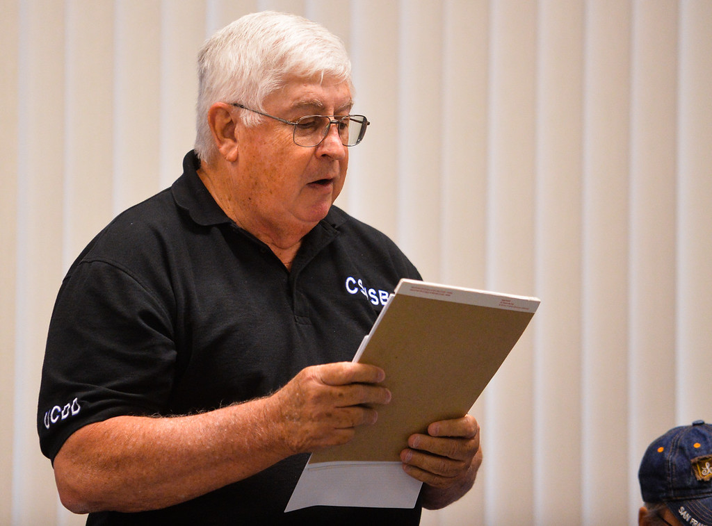 . Faculty senate member Dwight Sweeney speaks in opposition of the the Cal State San Bernardino Faculty Senate taking up a vote of no-confidence against President Tomas Morales at the senate\'s meeting at Cal State San Bernardino in San Bernardino, Calif. on Tuesday, May 9, 2017. (Photo by Rachel Luna, The Sun/SCNG)
