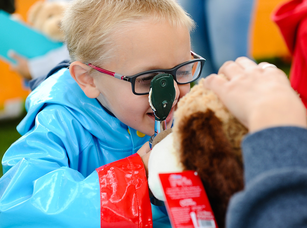 . Sundance Elementary student Landon Metz, 6, checks his stuff animal\'s eyes during the 32nd annual Children\'s Day at Loma Linda University Children\'s Hospital in Loma Linda, Calif. on Wednesday, May 10, 2017. Children were invited to learn what it\'s like to work in the medical field during the annual event. (Photo by Rachel Luna, Redlands Daily Facts/SCNG)