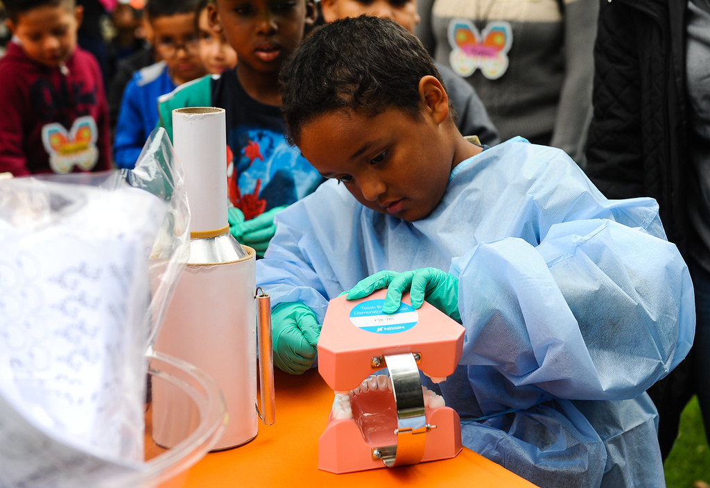. Victoria Elementary student Gabriel Bareil, 6, cleans teeth on a dental model during the 32nd annual Children\'s Day at Loma Linda University Children\'s Hospital in Loma Linda, Calif. on Wednesday, May 10, 2017. Children were invited to learn what it\'s like to work in the medical field during the annual event. (Photo by Rachel Luna, Redlands Daily Facts/SCNG)