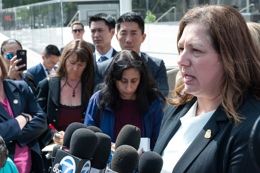 . FBI Assistant Director in Charge Deirdre Fike addresses the media in front of the Federal Courthouse in Los Angeles after the sentencing hearing of former LA County Sheriff Lee Baca on Friday, May 12, 2017. (Photo by Ed Crisostomo, Los Angeles Daily News/SCNG)