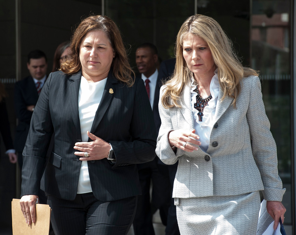 . Acting U.S. Attorney Sandra Brown, right, and FBI Assistant Director in Charge Deirdre Fike leave the Federal Courthouse in Los Angeles after the sentencing hearing of former LA County Sheriff Lee Baca on Friday, May 12, 2017. (Photo by Ed Crisostomo, Los Angeles Daily News/SCNG)