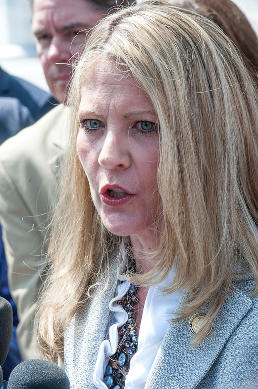 . Acting U.S. Attorney Sandra Brown addresses the media in front of the Federal Courthouse in Los Angeles after the sentencing hearing of former LA County Sheriff Lee Baca on Friday, May 12, 2017. (Photo by Ed Crisostomo, Los Angeles Daily News/SCNG)
