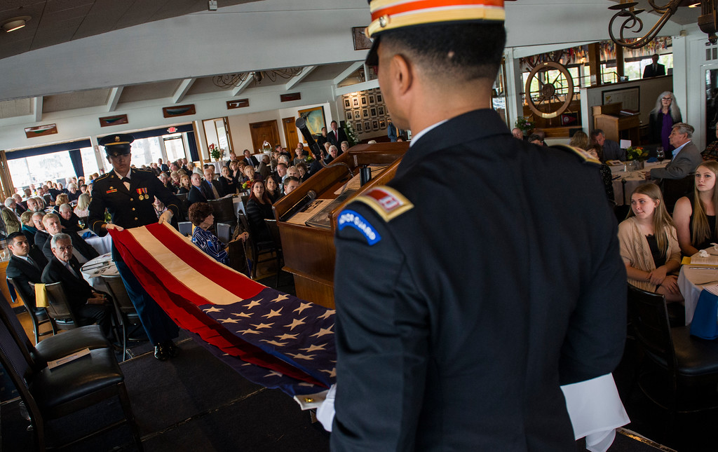 . A military honor guard folds the American flag at the celebration of the life for Ernie Kell at the Long Beach Yacht Club in Long Beach May 11, 2017. Kell, 88, died at his home in El Dorado Park Estates on the city�s eastside after battling cancer for four months. He served as elected mayor from 1988 to 1994, winning two elections for mayor: one for a two-year term in 1988, and the second for a full, four-year term in 1990. It was a difficult period of change for Long Beach, which was on the brink of losing its naval base, downtown retail was struggling and jet-manufacturing jobs were being slashed. (Photo by Thomas R. Cordova, Press-Telegram/SCNG)