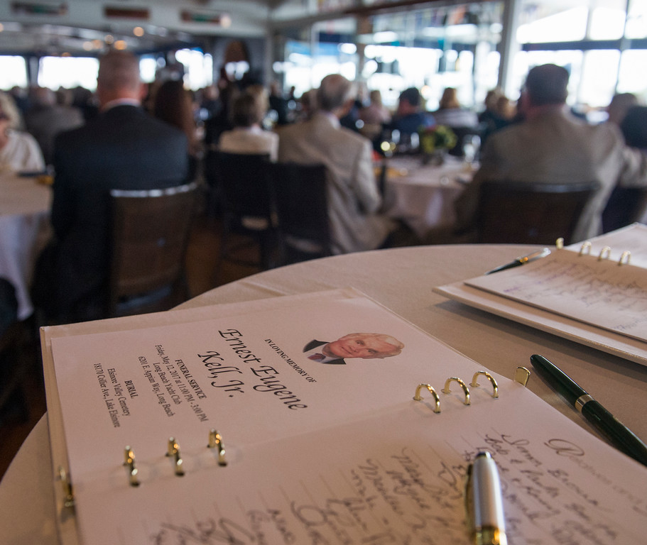 . A sign in book at the celebration of the life for Ernie Kell at the Long Beach Yacht Club in Long Beach May 11, 2017. Kell, 88, died at his home in El Dorado Park Estates on the city�s eastside after battling cancer for four months. He served as elected mayor from 1988 to 1994, winning two elections for mayor: one for a two-year term in 1988, and the second for a full, four-year term in 1990. It was a difficult period of change for Long Beach, which was on the brink of losing its naval base, downtown retail was struggling and jet-manufacturing jobs were being slashed. (Photo by Thomas R. Cordova, Press-Telegram/SCNG)