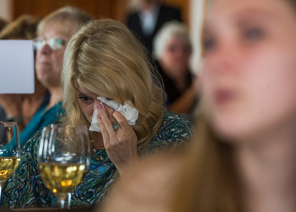 . Heather Balliet wipes a tear as she attends her uncles Ernie Kell celebration of the life at the Long Beach Yacht Club in Long Beach May 11, 2017. Kell, 88, died at his home in El Dorado Park Estates on the city�s eastside after battling cancer for four months. He served as elected mayor from 1988 to 1994, winning two elections for mayor: one for a two-year term in 1988, and the second for a full, four-year term in 1990. It was a difficult period of change for Long Beach, which was on the brink of losing its naval base, downtown retail was struggling and jet-manufacturing jobs were being slashed. (Photo by Thomas R. Cordova, Press-Telegram/SCNG)