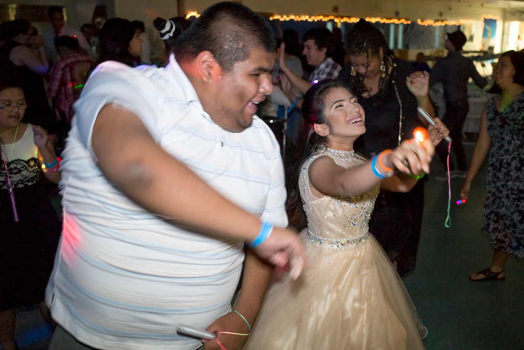 . Students dance to the DJ provided music at the annual Buddy Prom, an end-of-the-year celebration of friendship for special-education students at John F. Kennedy high school in Granada Hills Thursday, May 18, 2017.  (Photo by David Crane/Los Angeles Daily News-SCNG)