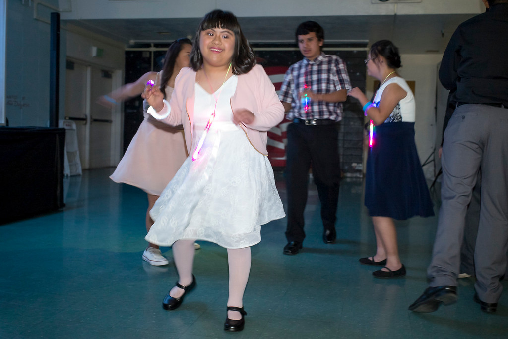 . Monica Munoz dances with her fellow students at the annual Buddy Prom, an end-of-the-year celebration of friendship for special-education students at John F. Kennedy high school in Granada Hills Thursday, May 18, 2017.  (Photo by David Crane/Los Angeles Daily News-SCNG)