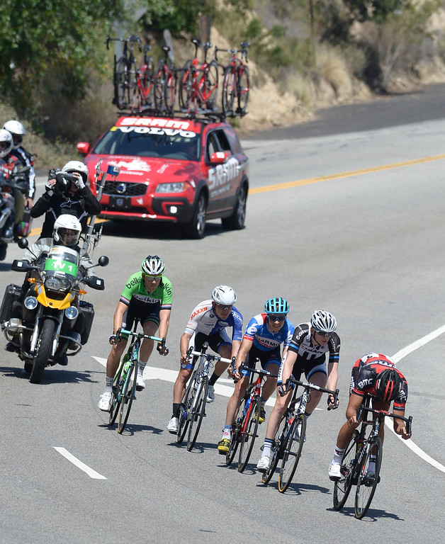 . Five riders broke away from the pack in the run down Angeles Crest Highway. Leading the pack is Greg Van Avermaet, followed by Chad Haga, Benjamin King,  Isaac Bolivar and Lars Boom. The Amgen Tour of California stage 7 started at the Town Center Mall in Valencia. The 88.7 mile trek took a serpentine route through the Angeles National Forest before ending in Pasadena. La Canada Flintridge, CA. 5/17/2014(Photo by John McCoy / Los Angeles Daily News)