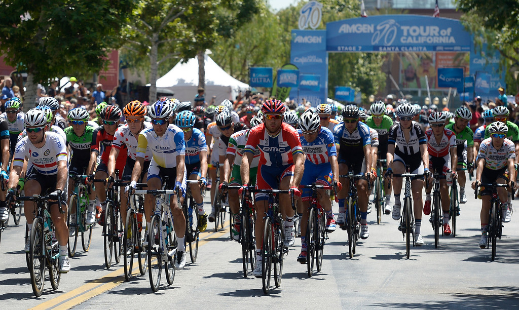 . Start of the The Amgen Tour of California stage 7 at the Town Center Mall in Valencia. The 88.7 mile trek took a serpentine route through the Angeles National Forest before ending in Pasadena. Valencia, CA. 5/17/2014(Photo by John McCoy / Los Angeles Daily News)