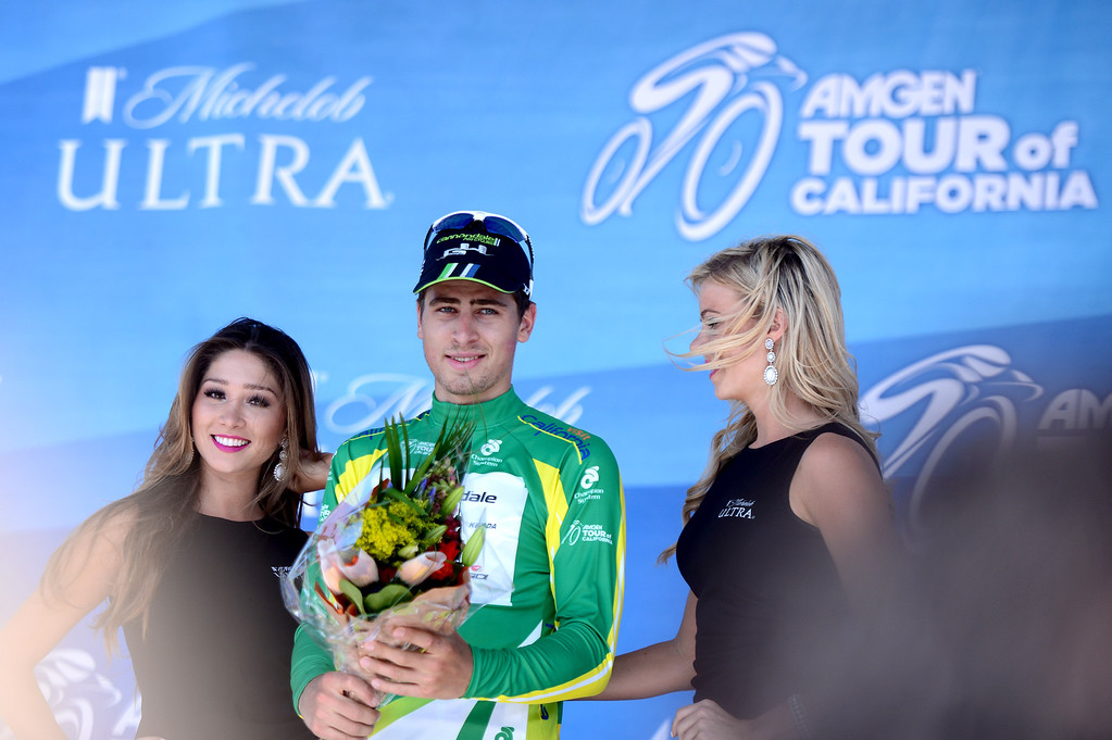 . Peter Sagan, of the Cannondale team, gets his new jersey after winning stage 7 of the Amgen Tour of California in Pasadena Saturday, May 17, 2014. (Photo by Sarah Reingewirtz/Pasadena Star-News)