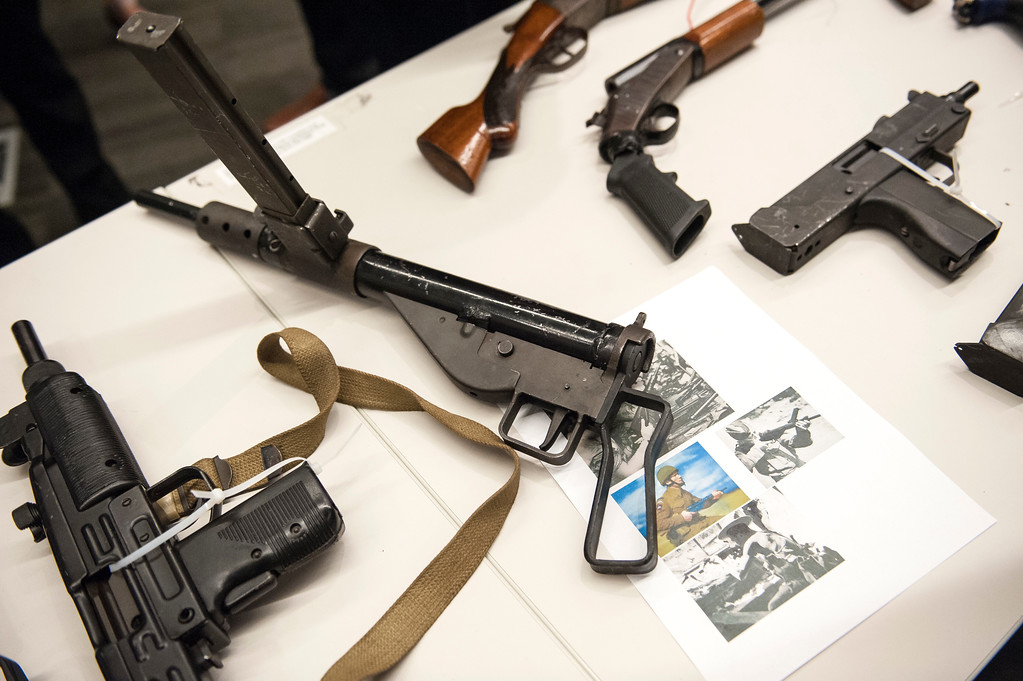 . Assault rifles, guns and pistols from Los Angeles surrendered anonymously sit on display during a press conference announcing the results for the anonymous gun buyback at Los Angeles Police Department Headquarters in Los Angeles on Friday, May 19, 2017. (Photo by Ed Crisostomo, Los Angeles Daily News/SCNG)