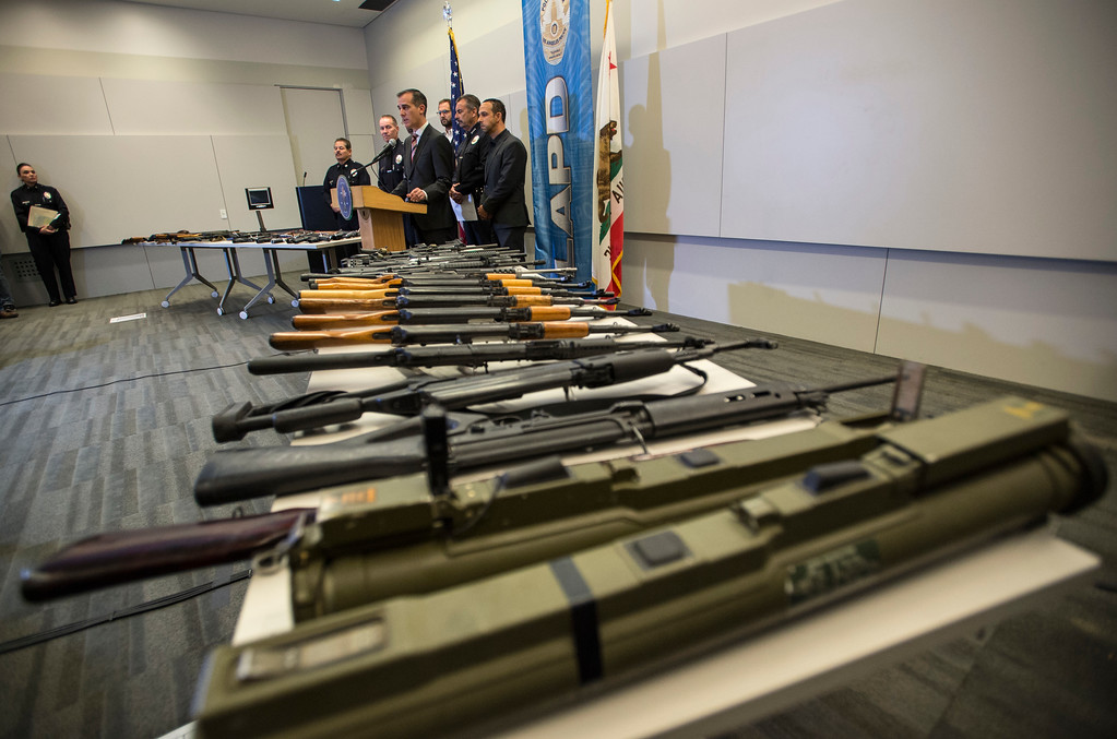 . Los Angeles Mayor Eric Garcetti addresses the media during a press conference announcing the results for the anonymous gun buyback at Los Angeles Police Department Headquarters in Los Angeles on Friday, May 19, 2017. (Photo by Ed Crisostomo, Los Angeles Daily News/SCNG)