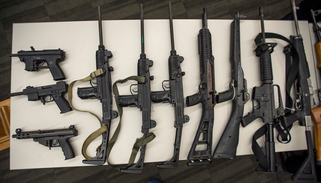 . Assault rifles and pistols from the San Fernando Valley surrendered anonymously sit on display during a press conference announcing the results for the anonymous gun buyback at Los Angeles Police Department Headquarters in Los Angeles on Friday, May 19, 2017. (Photo by Ed Crisostomo, Los Angeles Daily News/SCNG)