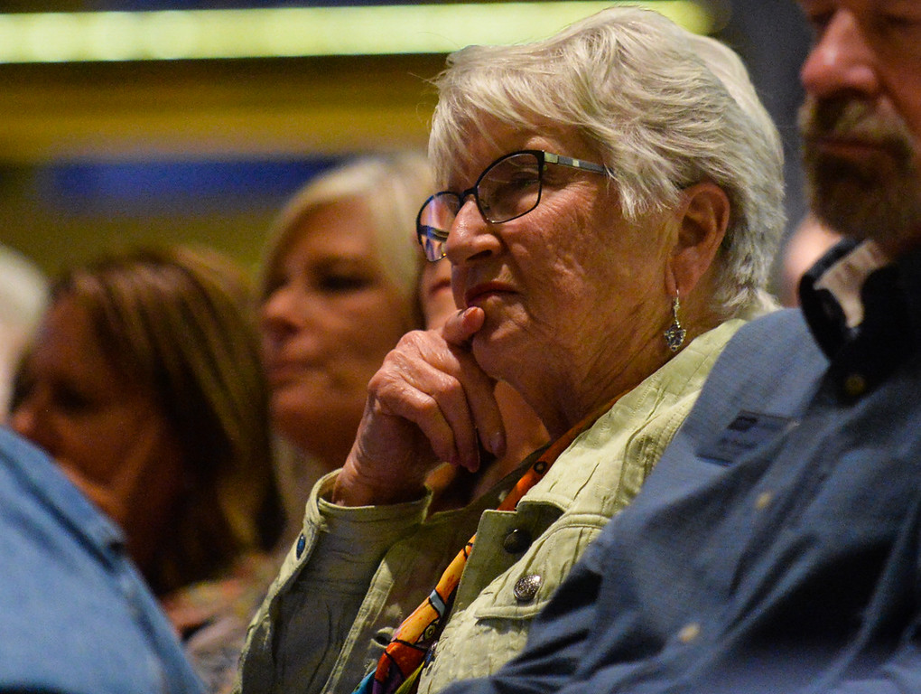 . Long-time mountain resident Carol Banner listens to public comments after speaking in support of the SkyPark at Santa\'s Village expansion proposal during a San Bernardino County Planning Commission meeting at the San Bernardino County Government Administration Building in San Bernardino, Calif. on Thursday, May 18, 2017. The planning commission unanimously approved SkyPark at Santa\'s Village expansion that will include biking and other activities to make it a year-round destination. (Photo by Rachel Luna, The Sun/SCNG)