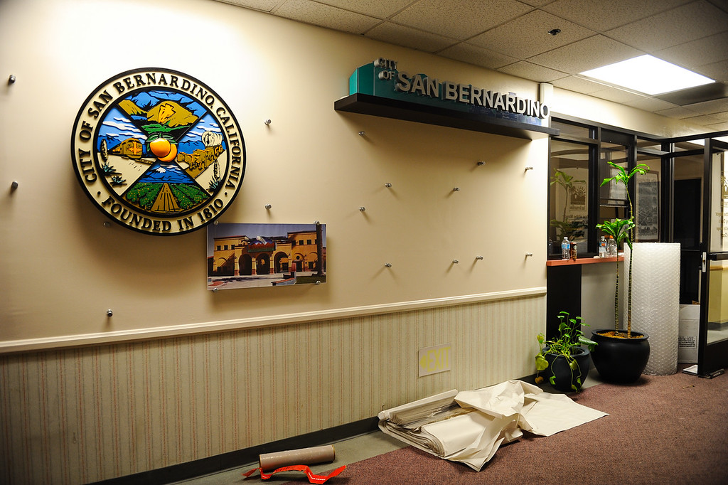 . Halls and rooms are emptied as offices are moved out of San Bernardino City Hall in San Bernardino, Calif. on Friday, May 19, 2017. Employees at City Hall are wrapping up their final days in the building as they prepare to move their offices elsewhere in the city. (Photo by Rachel Luna, The Sun/SCNG)