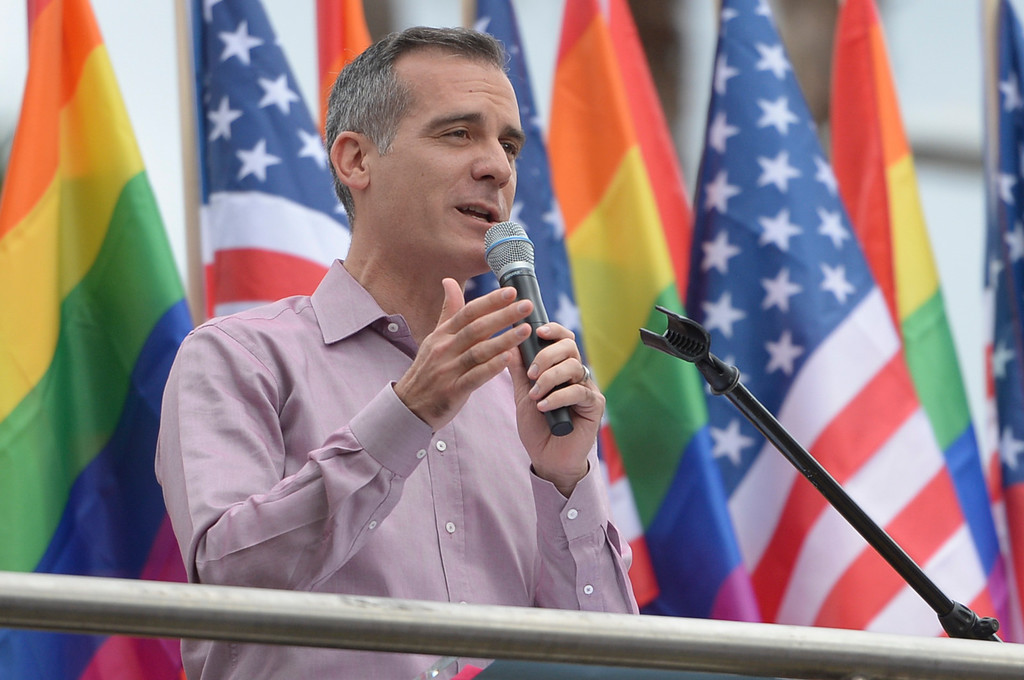 . Los Angeles mayor Eric Garcetti speaks at the LA Pride Resist March Sunday, June 11, 2017.  Thousands of participants marched from Hollywood to West Hollywood for the annual LA Pride March. ( Photo by David Crane, Los Angeles Daily News/SCNG)