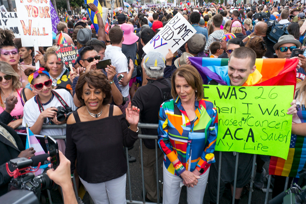 . Maxine Waters and Nancy Pelosi pose for pictures before the start of the LA Pride Resist March Sunday, June 11, 2017.  Thousands of participants marched from Hollywood to West Hollywood for the annual LA Pride March. ( Photo by David Crane, Los Angeles Daily News/SCNG)