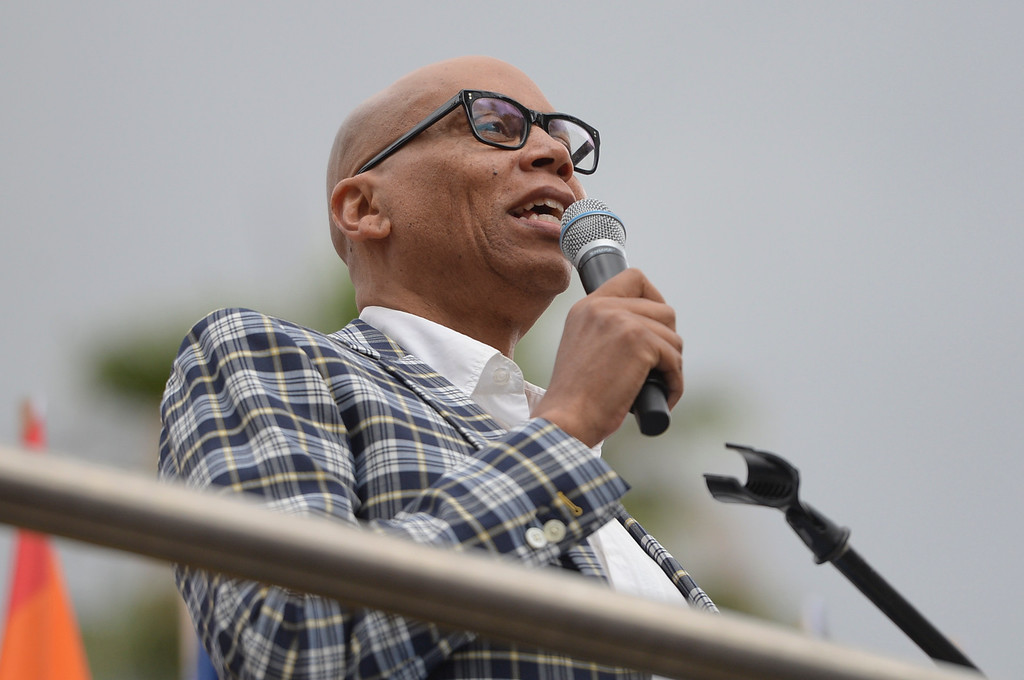 . RuPaul speaks at the LA Pride Resist March Sunday, June 11, 2017.  Thousands of participants marched from Hollywood to West Hollywood for the annual LA Pride March. ( Photo by David Crane, Los Angeles Daily News/SCNG)