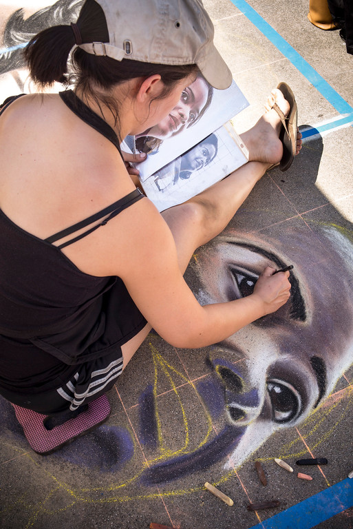 """. Artist Sarah Flores of Pasadena brings the actors from the movie \""""Hidden Figures\"""" come to life on the sidewalk at the 25th Pasadena Chalk Festival at Peseo Colorado in Pasadena.   (Photo by David Crane/Los Angeles Daily News-SCNG"""