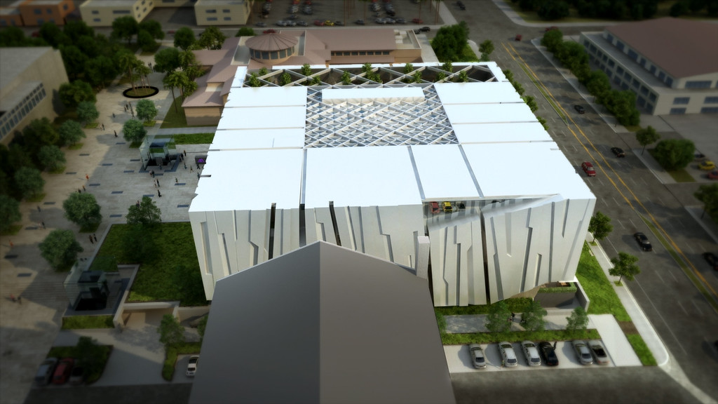 . The Armenian American Museum and Cultural Center (AAM) is planned to be built across from the Central Library in downtown Glendale.  The Museum envisions an iconic design that will depict the rock formations and mountain range found in Armenia. Alajajian-Marcoosi Artchitects described the design as also capturing the sensation one gets from the San Gabriel Mountains rising to the north of Glendale.  (Courtesy renderings)