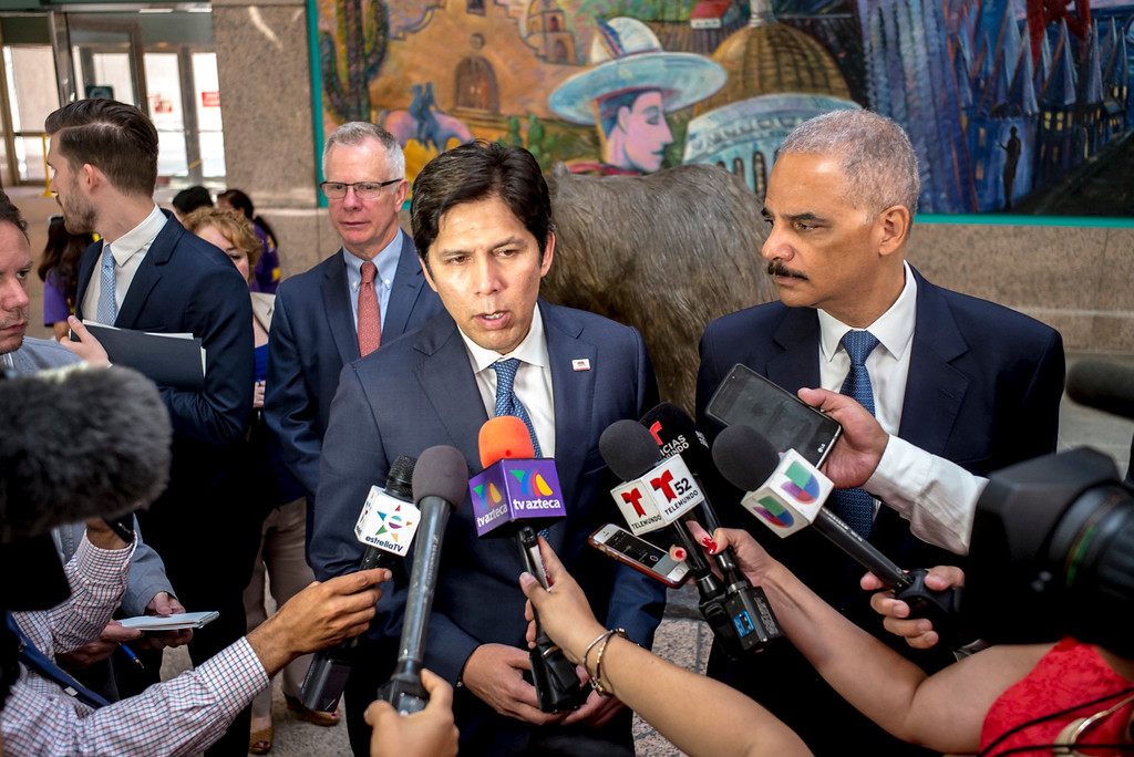 . California Senate Leader Kevin de León and former U.S. Attorney General Eric Holder at a press conference in support of SB 54, The California Values Act in Los Angeles Monday, June 19, 2017.      ( Photo by David Crane, Los Angeles Daily News/SCNG)