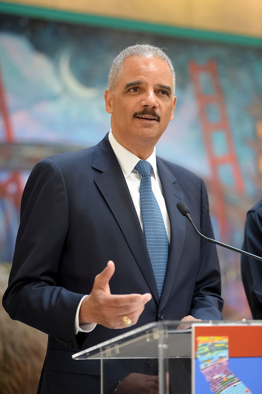 . Former U.S. Attorney General Eric Holder speaks in support of SB 54 at a press conference in Los Angeles Monday, June 19, 2017.   ( Photo by David Crane, Los Angeles Daily News/SCNG)