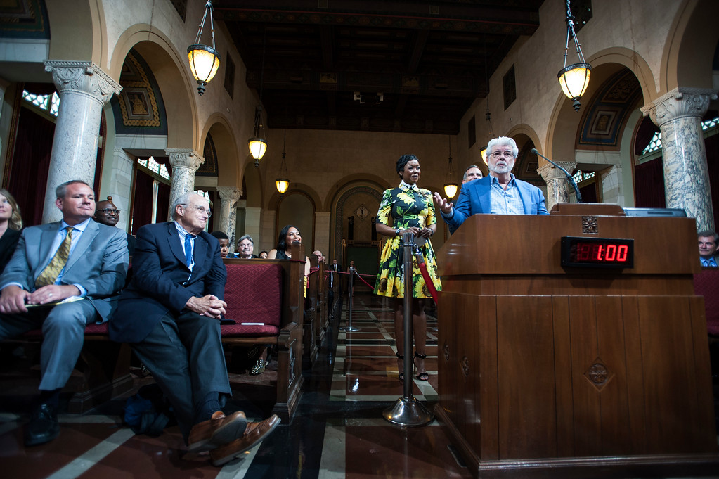 ". George Lucas, right, filmmaker, creator of ""Star Wars,\"" addresses the Los Angeles City Council members during a meeting at City Hall in Los Angeles on Tuesday, June 27, 2017. The City Council approved the Lucas Museum of Narrative Art project in Exposition Park. (Photo by Ed Crisostomo, Los Angeles Daily News/SCNG)"