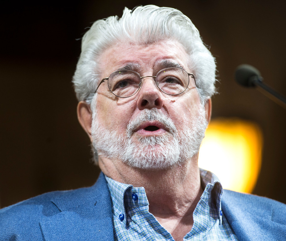 ". George Lucas, filmmaker, creator of ""Star Wars,\"" addresses the Los Angeles City Council members during a meeting at City Hall in Los Angeles on Tuesday, June 27, 2017. The City Council approved the Lucas Museum of Narrative Art project in Exposition Park. (Photo by Ed Crisostomo, Los Angeles Daily News/SCNG)"