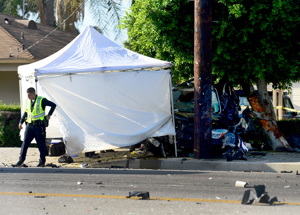 . A wrecked vehicle is seen Thursday, July 13, 2017, on Roscoe Boulevard near Irondale Avenue in Winnetka after a three-vehicle crash that left one person dead and three others injured. (Photo by Dean Musgrove/Los Angeles Daily News)