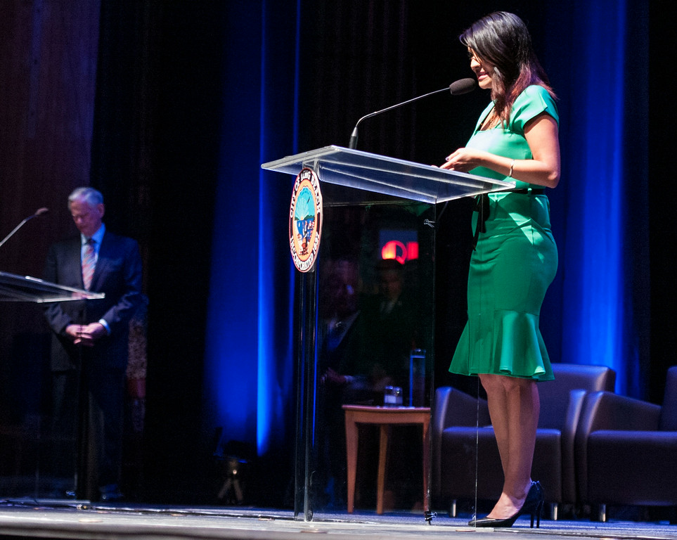 . Lena Gonzalez at the Long Beach 2014 Inauguration at the Terrace Theater in Long Beach, CA. Tuesday July 15, 2014. (Thomas R. Cordova-Daily Breeze/Press-Telegram)