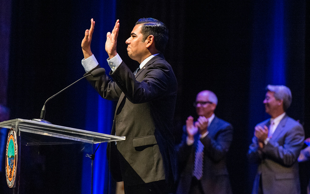 . Swearing-in ceremony for Mayor Robert Garcia, the 28th Mayor of Long Beach at the Terrace Theater in Long Beach, CA. Tuesday July 15, 2014. (Thomas R. Cordova-Daily Breeze/Press-Telegram)