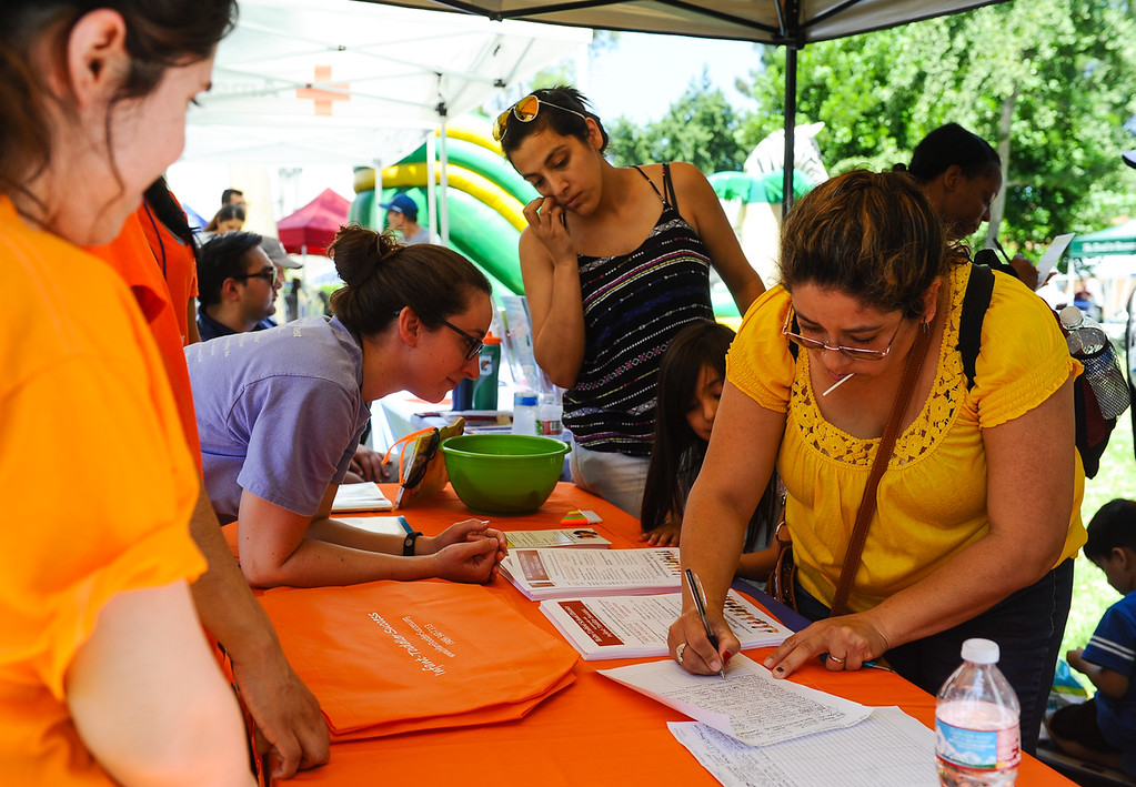 """. Local leaders and community members participate in \""""Justice in July Jamboree\"""" resource fair at Rialto City Hall in Rialto, Calif. on Saturday, July 22, 2017. The fair focused on providing social resources to struggling families. (Photo by Rachel Luna, The Sun/SCNG)"""