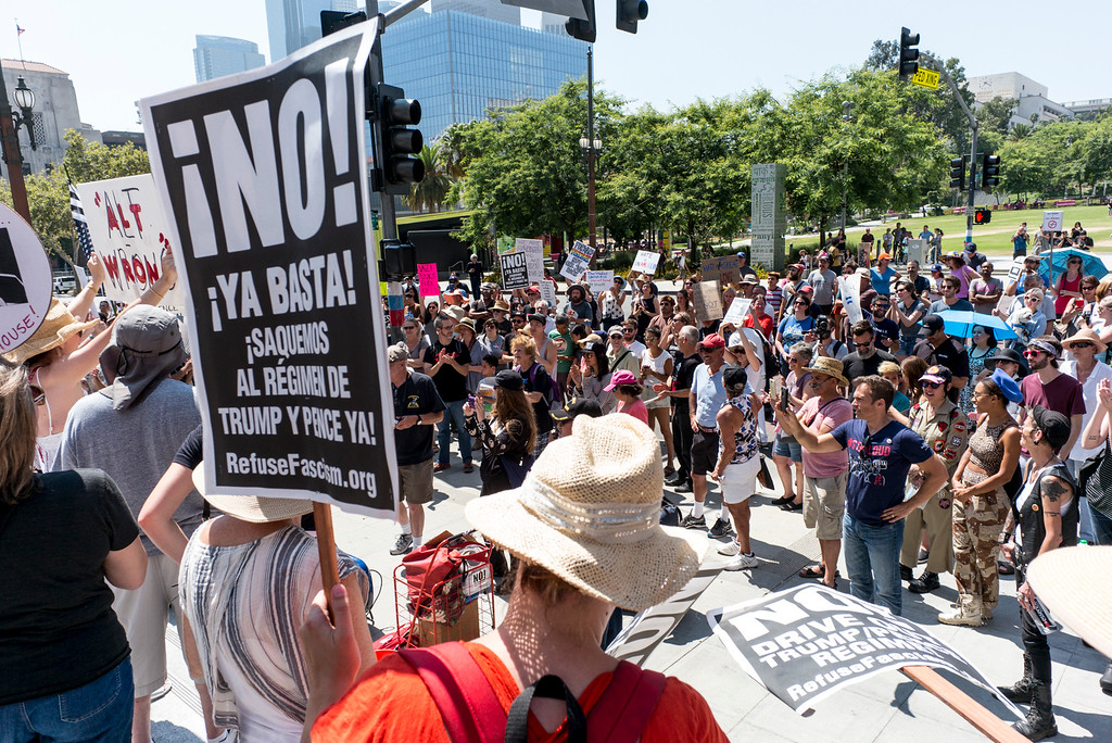 . A rally in Los Angeles drew hundreds to stand in solidarity with Charlottesville and the death of Heather Heyer who was run over by a motorist while participating in an anti-KKK protest.  The group gathered at City Hall then marched to the Metropolitan Detention Center in downtown Los Angeles Sunday, August 13, 2017.   ( Photo by David Crane, Los Angeles Daily News/SCNG)